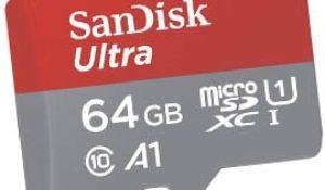 MicroSD SanDisk Ultra 64GB con Adaptador SD Clase 10, U1 y A1
