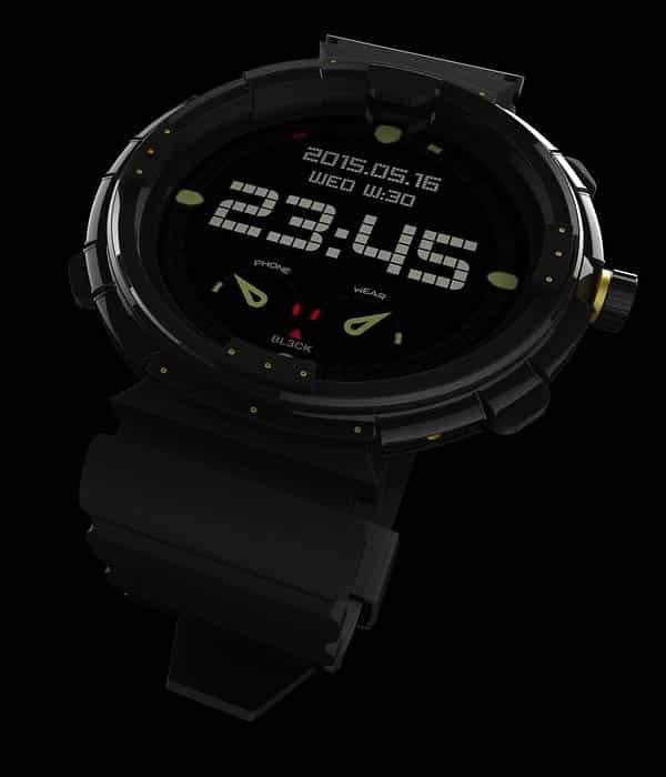 Smartwatch con pantalla estilo reloj digital antiguo.