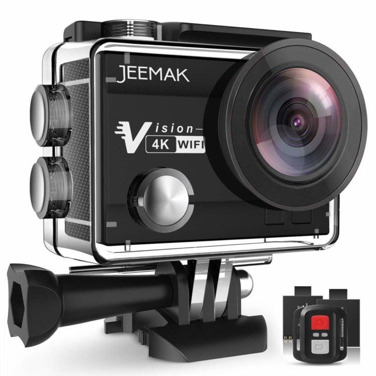 Cámara deportiva  barata marca Jeemak: con 2 baterías + accesorios