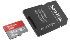 MicroSD SanDisk Ultra 64GB + adaptador SD a un precio excelente