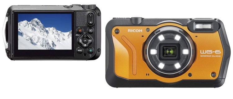 Cámara de fotos sumergible Ricoh WG-6. Mejor cámara de fotos acuática barata y otros modelos sumergibles