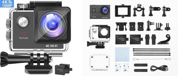 Victure Camara Deportiva 4k. Mejor cámara de fotos acuática barata y otros modelos sumergibles
