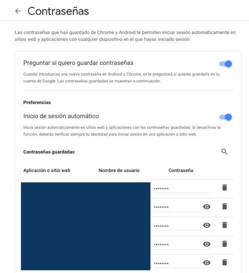 Contraseñas almacenadas en Google Chrome