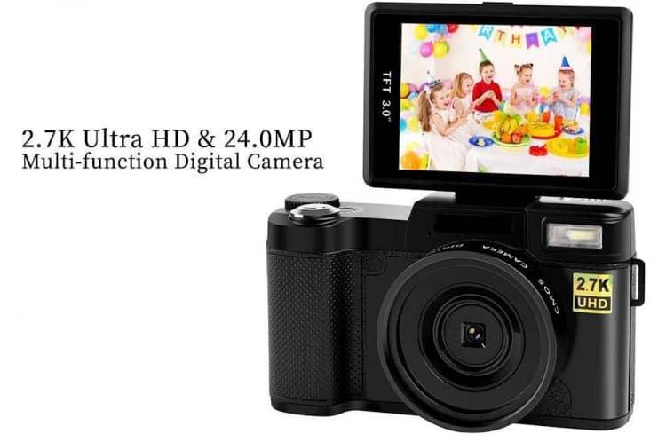 Camara multifunción barata con pantalla giratoria 2.7K UHD y 24MP. Las mejores cámaras compactas baratas y bridge