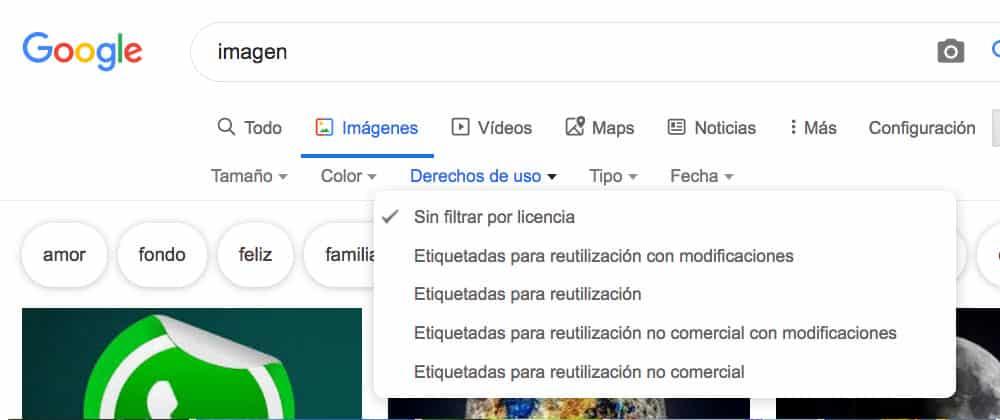 """Filtrar imágenes en Google por licencia: """"sin licencia"""". ¿Donde puedo conseguir imágenes gratis y libres de derechos?"""