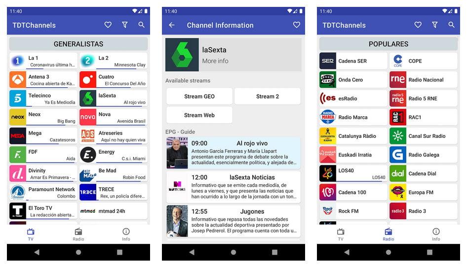 Capturas de TDTChannels funcionando en un móvil Android - Cómo ver tu Smart TV sin enchufe ni conector de antena