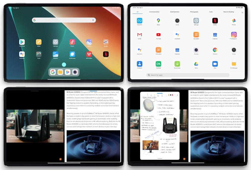 4 vistas de pantalla de Android MIUI funcionando en Xiaomi Pad 5