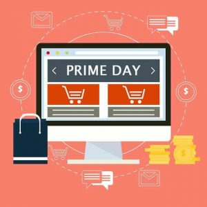 Prime Day Amazon. Compras, imagen en cuadrado.